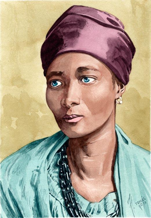 Retrato de Eleanor Xiniwe, pintado por Tomás Hoya Cicero. acuarela, watercolor