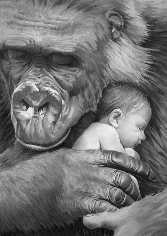 Tarzán de los monos, ilustración en blanco y negro para la novela