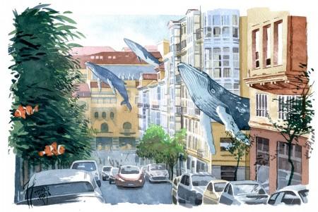 """Visitando la ciudad, ilustración de Tomás Hoya Cicero, perteneciente a la serie """"Distorsión natura"""". Illustration, acuarela, watercolor"""